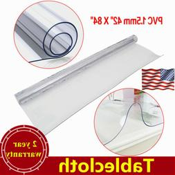 """42 """"X 84"""" 1.5mm PVC Clear Tablecloth Waterproof Table Protec"""