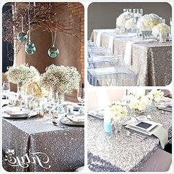 TRLYC 48''x72'' SALE! Choose your Size, Sequin Tablecloth, W