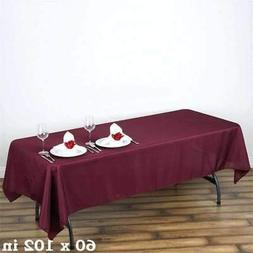 5 Pk 60x102 in. Polyester Rectangle Seamless Tablecloth Wedd