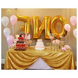 50''x50'' Square Light Gold Sequin Tablecloth Select Your Co