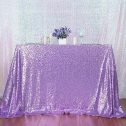 "50""x80""Light Purple Sequin Tablecloth Rectangle Tablecloth W"
