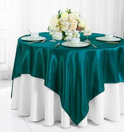 """Wedding Linens Inc. 54"""" Satin Square Table Overlays Toppers"""