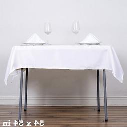 "54"" White SQUARE POLYESTER TABLECLOTH Wedding Party Catering"