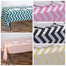 "54 x 108"" Chevron Disposable Plastic Rectangular Table Cover"
