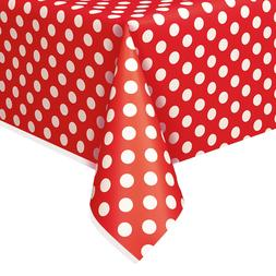 "54"" x 108"" Polka Dot Plastic Table Cover Tablecloths Birthda"