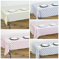 "54 x 108"" Polka Dots Disposable Plastic Rectangular Table Co"