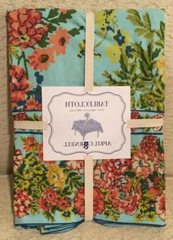 April Cornell 54 x 54 SQUARE Tablecloth Aqua Blue Floral CAR