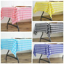"54 x 72"" Checkered Disposable Plastic Rectangular Table Cove"