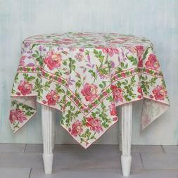 "April Cornell 54x54"" Square Ecru Greta's Garden Tablecloth P"