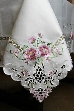 """54x72"""" Ivory Embroidered Embroidery Cutwork Floral Tableclot"""