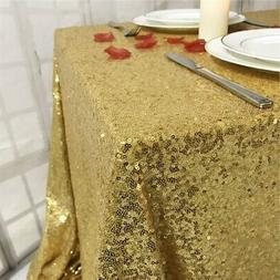 "TRLYC 55""X55"" Seamless Gold Sequin Tablecloth Sparkly Shimme"