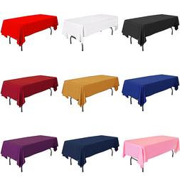 "58"" x 102"" Lamour Satin Rectangular Seamless Tablecloth Wedd"