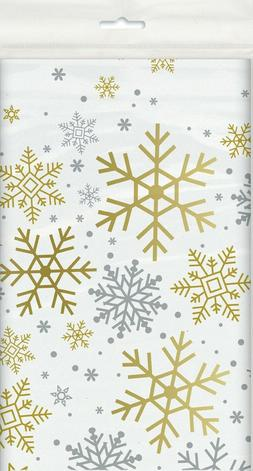 Gold & Silver Snowflake  Plastic Party Tablecover tableclot