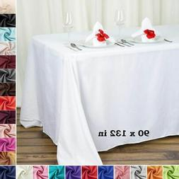 "6 pcs 90x132"" RECTANGLE High Quality POLYESTER TABLECLOTHS W"