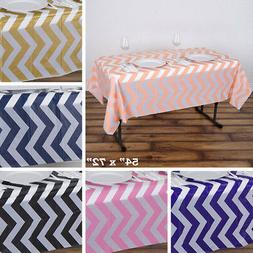 "6 pcs RECTANGLE 54x72"" Chevron Disposable Plastic Tablecloth"