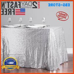 "TRLYC 60""105"" Silver Sequin Table Cloth For Wedding Decorati"