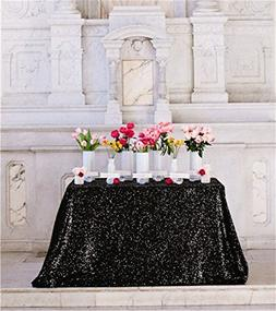 "TRLYC 60"" 105"" Black Sequin Table Cloth for Wedding"