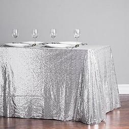 TRLYC 60 Inch By 120 Silver Sequin Rectangular Tablecloth