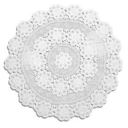 KEPSWET 60 inch Round White Crochet Lace Floral Tablecloth H