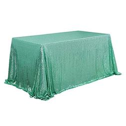 "TRLYC 60"" 105"" Mint Sequin Table Cloth for Wedding"
