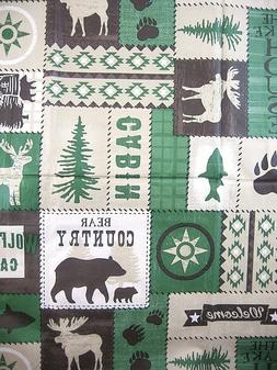 """60"""" Round Bear Moose Lodge Country Cabin Camp Vinyl Tableclo"""