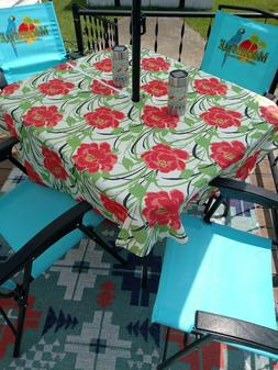 """60"""" round Spill proof bloom floral  UMBRELLA HOLE  TABLECLOT"""