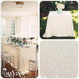 TRLYC 60''x120'' Sparkly Ivory Sequins Wedding Square Tablec