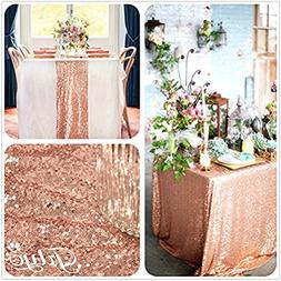 TRLYC 90x132-Inch Real Rose Gold Sequins Square Tablecloths