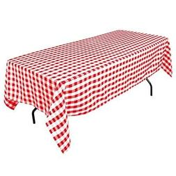 60 x 102-Inch Rectangular Tablecloth Red White Checker For S