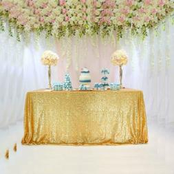 TRLYC 60 x 102-Inch Square Sequin Tablecloth Gold for Weddin