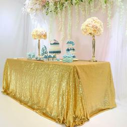 TRLYC 60 x 120 Inch Rectangular Sequin Tablecloth Gold