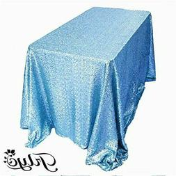 TRLYC 60 x 120-Inch Rectangular Sequin Tablecloth Aqua Blue