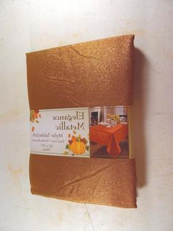"60"" x 120"" Orange Metallic Polyester Oblong Autumn Halloween"