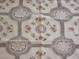 "60""x 90"" Handmade Crochet Lace Tablecloth  COLOR BEIGE 100 %"