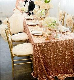 """60""""x102"""" Sparkly Rose Gold Sequin Tablecloth Square Table Co"""