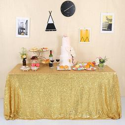 """60""""x102"""" Gold Sequin Tablecloth Rectangle Glitter Table Clot"""