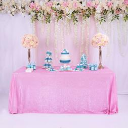 "60""x102"" Rectangle Pink Sequin Tablecloth Sparkly Sequin Tab"