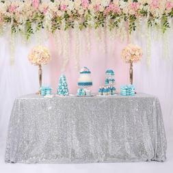 """60""""x120"""" Silver Sequin Tablecloth Shiny Table Cover Wedding"""