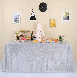 60 x102 silver sequin tablecloth shimmery table