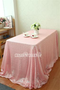 "60""x102""Sparkly Pink Sequin Tablecloth Rectangle Tablecloth"