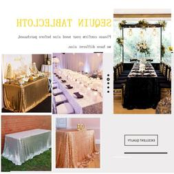 """60""""x102"""" Wedding Sequin Tablecloth Rectangle Sparkly Table L"""