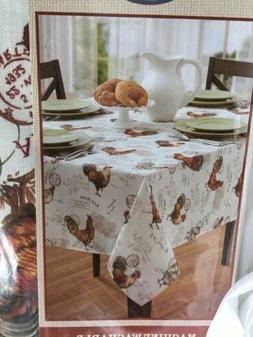 "Benson Mills 60""x104"" Oblong TEXTURED Poly ROOSTER Tableclot"