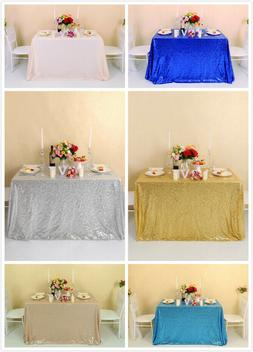 "60""x120"" Sequin Tablecloth Glitter Party Wedding Banquets Re"