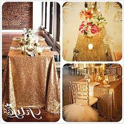 60''x120'' Sparkly Gold Square Sequins Wedding Tablecloth, S