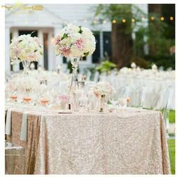 ShinyBeauty 60inx102in Sequin Tablecloth for Wedding/Party-C