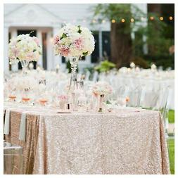 60inx102in sequin tablecloth for wedding party champagne