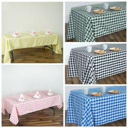"60x102"" Checkered Gingham Tablecloth Polyester Rectangular L"