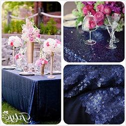 """60x102"""" Navy Blue Sequin Tablecloth Wedding Party Decoration"""