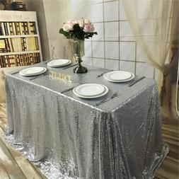 """60x102"""" Silver Sequin Tablecloth Wedding Party Decoration US"""