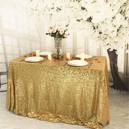 """60x120"""" Gold Sequin Tablecloth Wedding Party Decoration US o"""